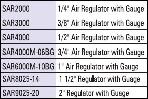 air regulation with gauge table